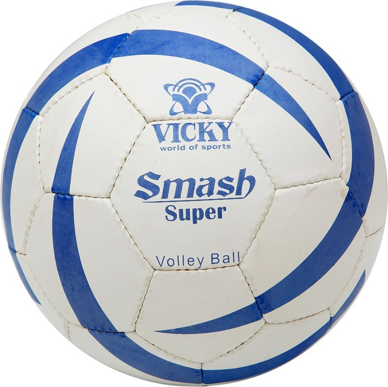 Vicky Smash-Super Volleyball -   Size: 5,  Diameter: 21 cm(Pack of 1, White, Blue)