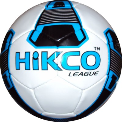 Hikco League Football - Size: 5, Diameter: 22 cm(Pack of 1, White, Blue, Black)