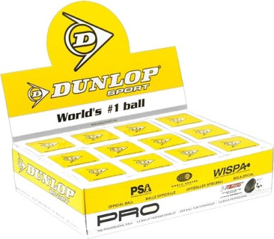 Dunlop Pro 2 Dot Squash Ball(Pack of 12, Black, Yellow)
