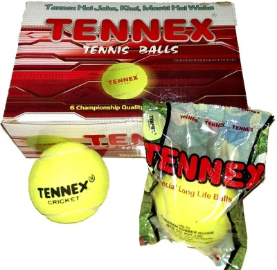 Tennex Cricket Tennis Heavy Cricket Ball -   Size: Standard,  Diameter: 6 cm(Pack of 6, Yellow)