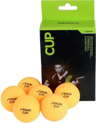 Stiga Cup Ping Pong Ball - Size: 1.6, Diameter: 3.6 cm(Pack of 6, Orange)