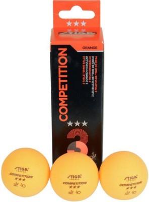 Stiga Stiga Competiton Ping Pong Ball - Size: 3.6, Diameter: 3.6 cm(Pack of 3, Orange)