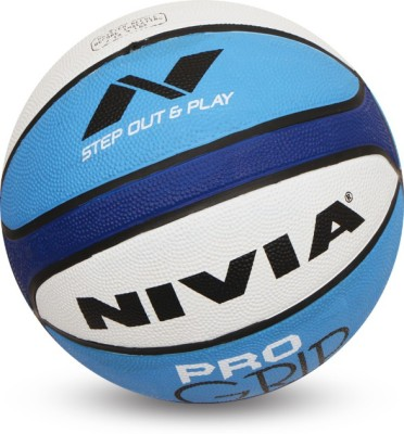 Nivia Pro Grip Basketball - Size: 7(Pack of 1, White, Blue)