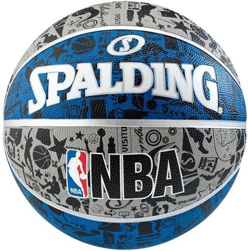 Spalding Nba Graffiti Basketball -   Size: 7,  Diameter: 4.5 cm(Pack of 1, Grey, Blue, Black)