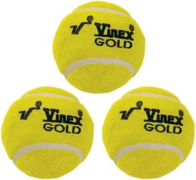 Vinex Tennis - Gold (Pack of 3 Pcs) Cricket Ball -   Size: 5,  Diameter: 4.5 cm