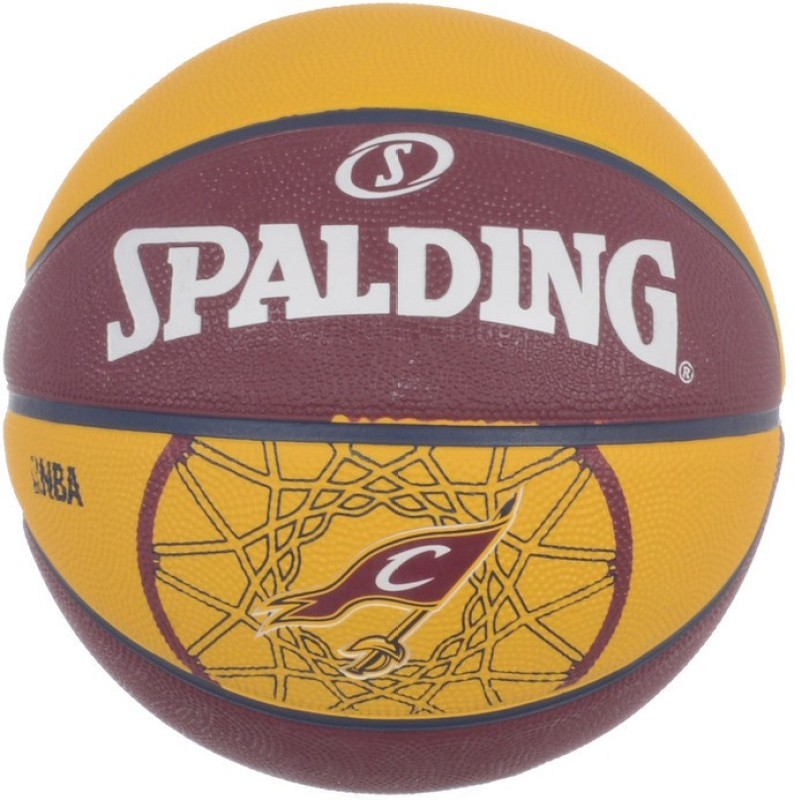 Spalding Team Cavaliers Basketball -   Size: 7,  Diameter: 30 cm(Pack of 1, Red, Yellow)