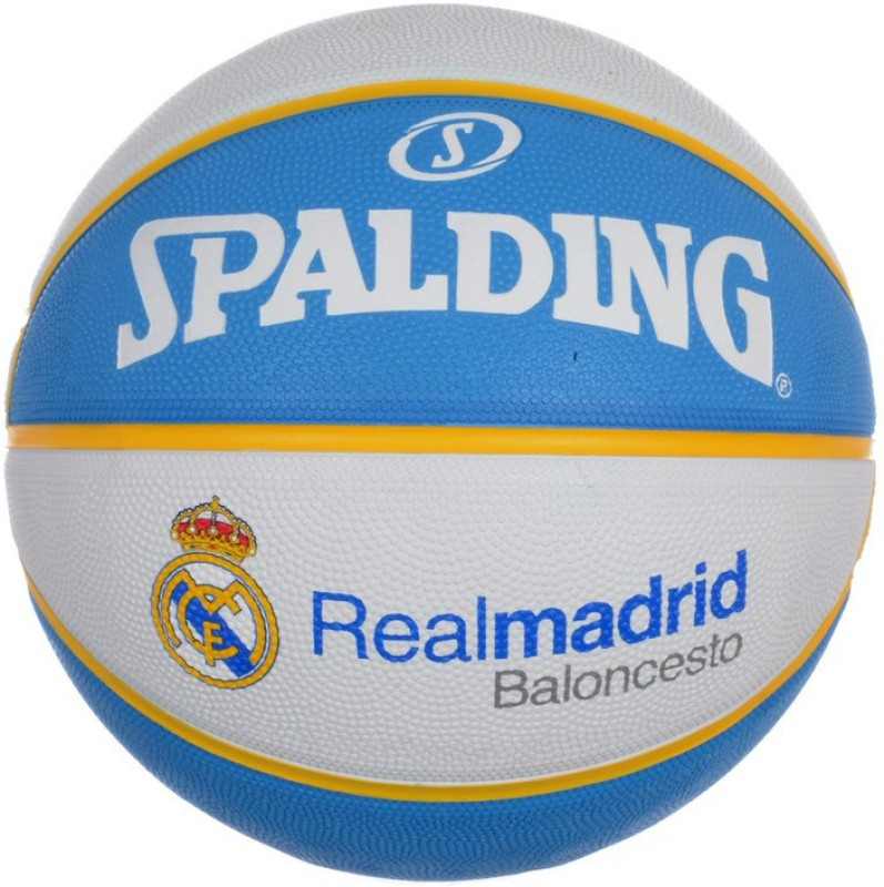 Spalding Euro Real Madrid Basketball -   Size: 7,  Diameter: 30 cm(Pack of 1, White, Blue)