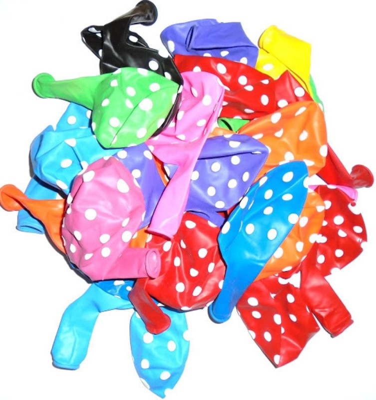ENERZY Printed White Polka dots on Multicolors Balloon
