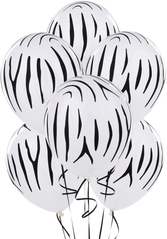 GrandShop Printed GS50380 Balloon(White, Black, Pack of 30)