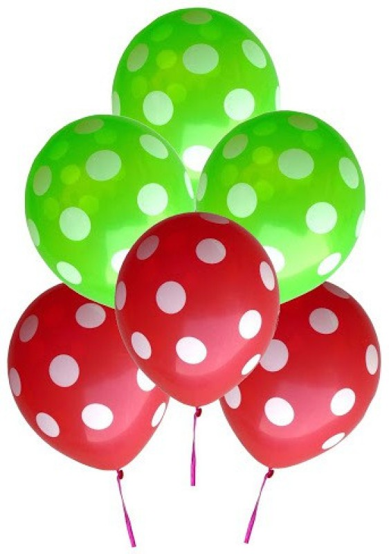 GrandShop Printed GS004 Balloon(Green, Red, Pack of 6)