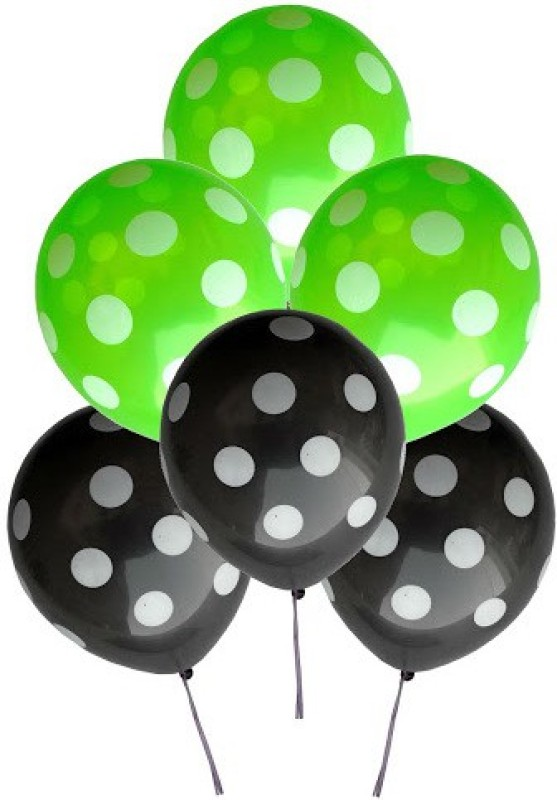 GrandShop Printed 50221 Balloon(Green, Black, Pack of 25)