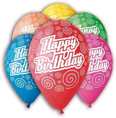 Bubbly Printed Swirly Birthday Balloon