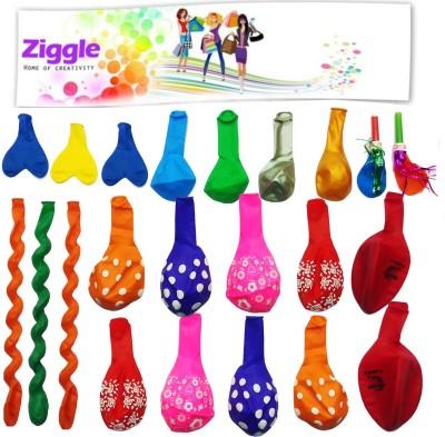 Ziggle Printed AssortedBallonPack24 Balloon