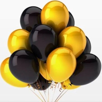 PartyballoonsHK Solid HK0206 Metallic Black , Golden Balloon