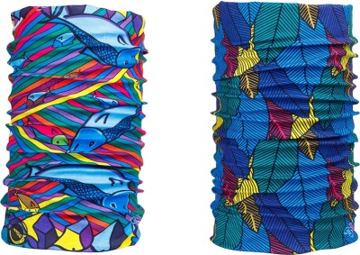Noise Combo Of Noise 13 in 1 Vivid Pompano And Leaf Net Headwrap Men's Printed Bandana