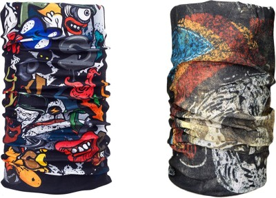 Noise Combo Of Noise 13 in 1 Rooker's Skull Black And Sassy Skull Black Headwrap Men's Printed Bandana