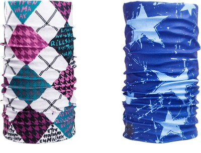 Noise Combo Of Noise 13 in 1 Purple White Diamonds And Star Galaxy Headwrap Men's Printed Bandana
