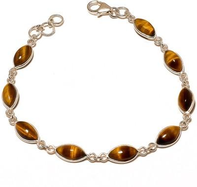 Ethnicult Sterling Silver Cat's Eye Rhodium Bracelet