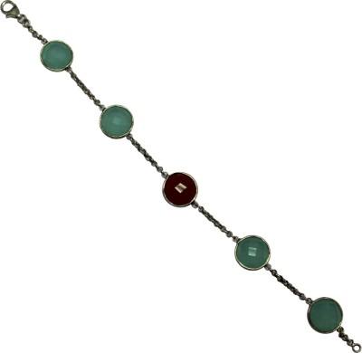 GnJ Sterling Silver Chalcedony, Onyx Sterling Silver Bracelet