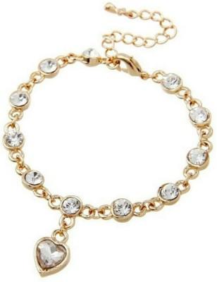 University Trendz Alloy Crystal 18K Rose Gold Charm Bracelet
