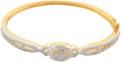 Affinity Alloy, Silver Cubic Zirconia Yellow Gold Bracelet