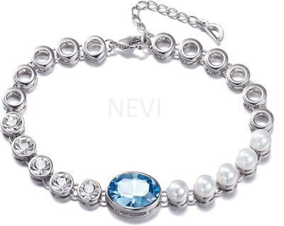 Nevi Metal, Alloy, Crystal, Mother of Pearl Swarovski Crystal, Pearl Rhodium Charm Bracelet