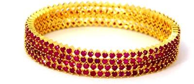 Belleza Jewelry Alloy Cubic Zirconia 24K Yellow Gold Bracelet Set