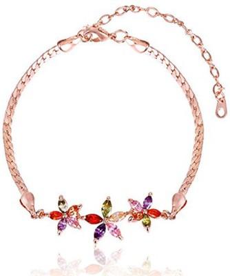 Karatcart Zinc Zircon 23K Rose Gold Charm Bracelet