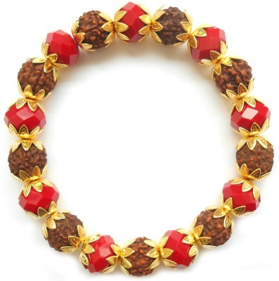 Herbal Jewellery Alloy, Wood, Crystal 22K Yellow Gold Bracelet
