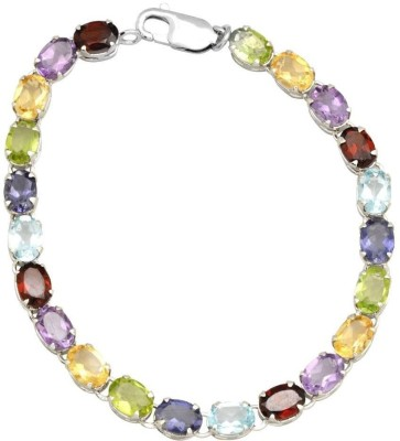 YugshaJewels Sterling Silver Garnet Rhodium Bracelet