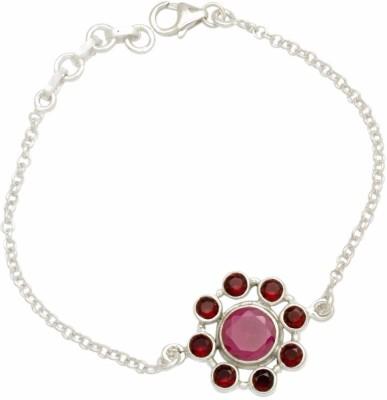 YugshaJewels Silver Ruby, Garnet Bracelet
