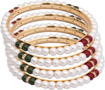 Classique Designer Jewellery Alloy Crystal Rhodium Bangle Set(Pack of 4) at flipkart
