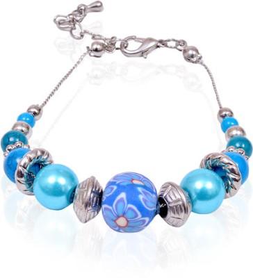 Trendy Baubles Metal, Acrylic, Glass, Fabric Rhodium Bracelet