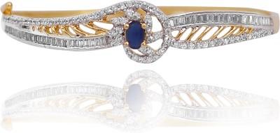 E-Designs Brass Cubic Zirconia Rhodium Bracelet
