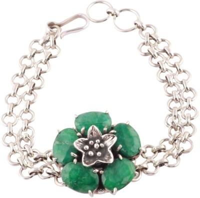 Kirti Gems Sterling Silver Emerald Bracelet