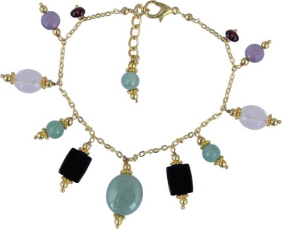 Pearlz Ocean Alloy Agate, Quartz, Amethyst, Garnet Yellow Gold Bracelet