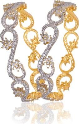 American Diamond Brass, Copper Cubic Zirconia Yellow Gold, Rhodium Bangle Set