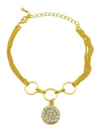 High Trendz Alloy Cubic Zirconia Yellow Gold Bracelet