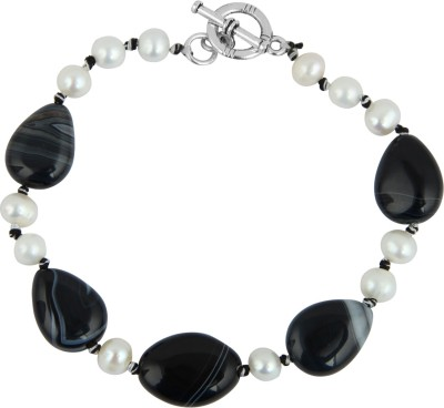 Pearlz Ocean Alloy Pearl, Agate Bracelet