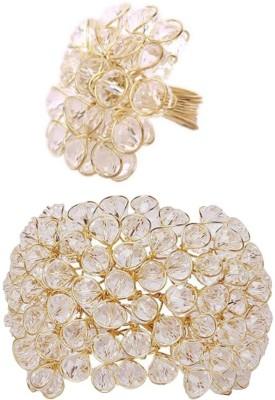 Jewels Gehna Alloy Cubic Zirconia Brass Ring Bracelet(Pack of 2) at flipkart