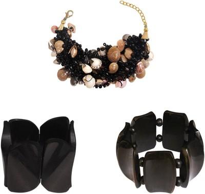 Kenway Retail Glass, Bone, Shell Brass Bracelet Set
