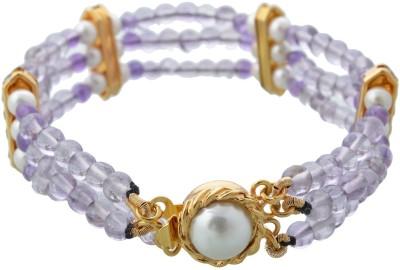 Pearl Paradise Brass Pearl, Amethyst Yellow Gold Bracelet