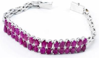 YugshaJewels Silver Ruby Rhodium Bracelet