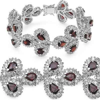 Johareez Fashion Brass Garnet Rhodium Bracelet