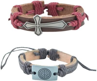Alpha Man Leather Bracelet(Pack of 2) at flipkart