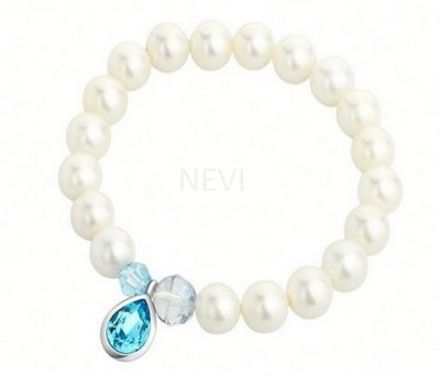 Nevi Metal, Crystal, Mother of Pearl Crystal Rhodium Charm Bracelet