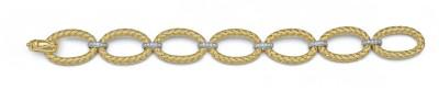 Silver Zing Silver Zircon Yellow Gold Bracelet