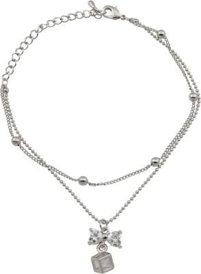 Hightrendz Alloy Cubic Zirconia Sterling Silver Charm Bracelet