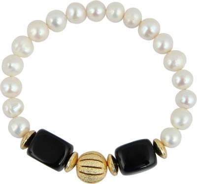 Pearlz Ocean Alloy Pearl, Agate Yellow Gold Bracelet