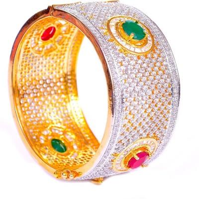 Kundan Jewellery Alloy Cubic Zirconia 18K Yellow Gold Bracelet